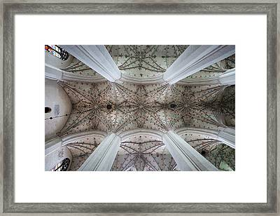 Gothic Ribbed Vault Of Torun Cathedral Framed Print by Artur Bogacki