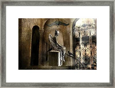 Gothic Surreal Angel With Gargoyles And Ravens  Framed Print by Kathy Fornal