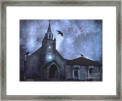 Gothic Surreal Old Church With Ravens And Stars - Winter Night Framed Print by Kathy Fornal