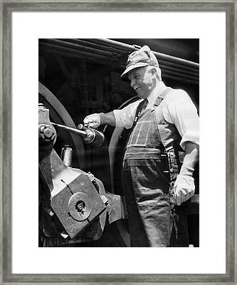 Gov. Rolph Engineer On Train Framed Print by Underwood Archives