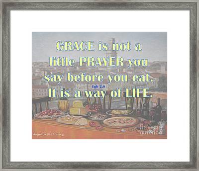 Grace - Prayer Quote  Framed Print by Italian Art