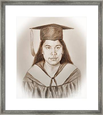 Graduation Portrait Of A Filipina Beauty  Framed Print by Jim Fitzpatrick