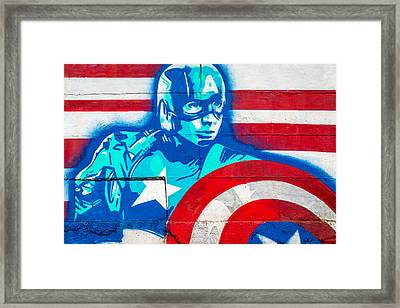 Grafitti Art Captian America Framed Print by Jon Manjeot