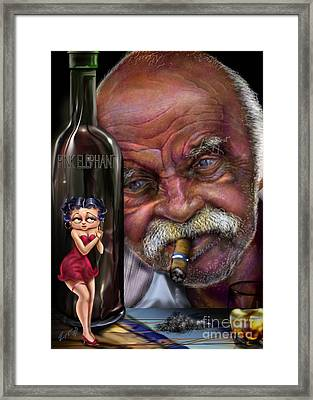 Grampy-betty Boop And Pink Elephant Framed Print by Reggie Duffie
