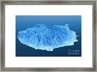 Gran Canaria Topographic Map 3d Landscape View Blue Color Framed Print by Frank Ramspott