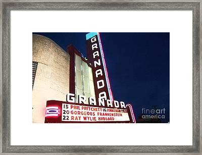 Granada Theater Framed Print by Debbi Granruth