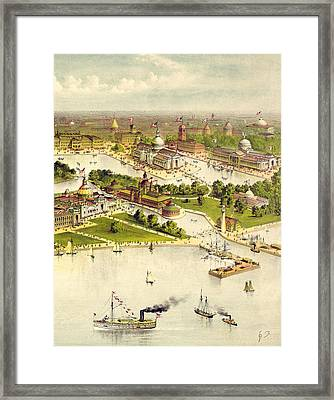 Grand Birds Eye View Of The Grounds And Buildings Of The Great Columbian Exposition At Chicago, Illi Framed Print by Currier and Ives