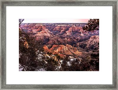 Grand Canyon Winter Sunrise Landscape At Yaki Point Framed Print by Brian Tada