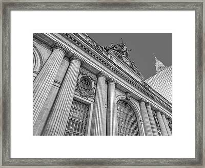 Grand Central Terminal - Chrysler Building Bw Framed Print by Susan Candelario