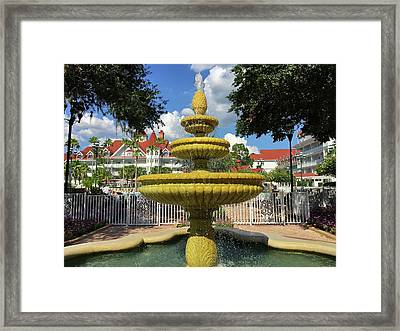 Grand Floridian Water Fountain Framed Print by Denise Mazzocco