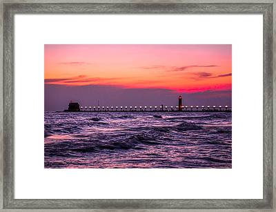 Grand Haven Lighthouse Great Lakes Michigan Framed Print by Art Spectrum