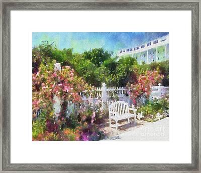 Grand Hotel Gardens Mackinac Island Michigan Framed Print by Betsy Foster Breen