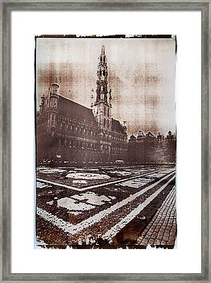 Grand Place Brussels Gum Bichromate Framed Print by Guido Montanes Castillo