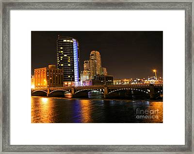 Grand Rapids Mi Under The Lights Framed Print by Robert Pearson