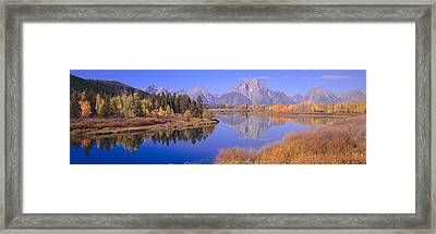 Grand Tetons Reflected In Oxbow Bend Framed Print by Panoramic Images