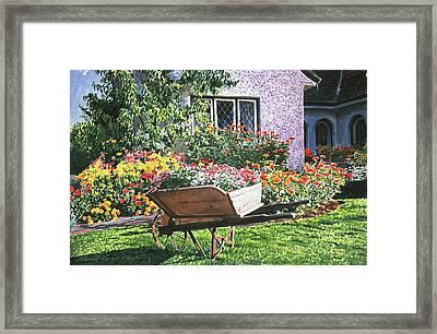 Grandad's Wheelbarrow Framed Print by David Lloyd Glover