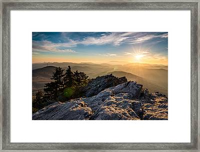 Grandfather Mountain Sunset Blue Ridge Parkway Western Nc Framed Print by Dave Allen