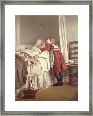 Grandfathers Little Nurse Framed Print by James Hayllar