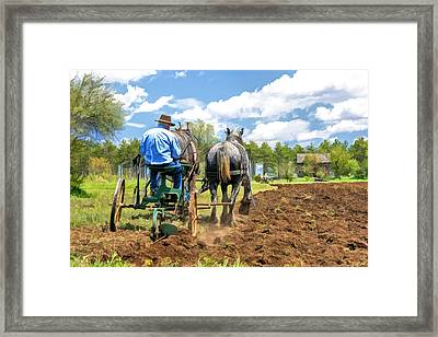 Grandpa At The Plow At Old World Wisconsin Framed Print by Christopher Arndt