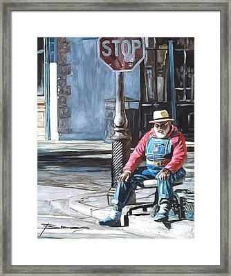 Grandpa Elliot On The Corner Of Royal Framed Print by John Boles