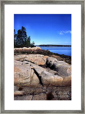Granite Shoreline Deer Isle Maine Framed Print by Thomas R Fletcher