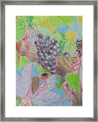 Grape Fairy Harvest Framed Print by Helen Krummenacker