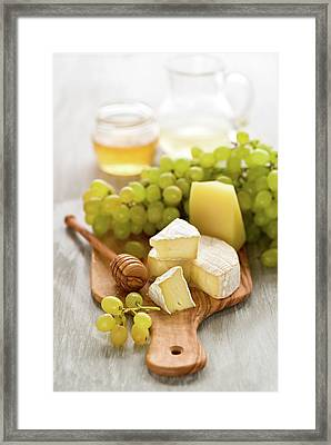 Grape, Honey And Cheese Framed Print by Verdina Anna