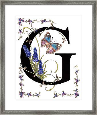 Blue Grapes Framed Print featuring the mixed media Grape Hyacinth And Genoveva Azure Butterfly by Stanza Widen