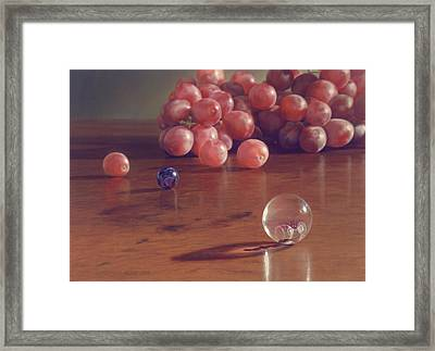 Grapes And Marbles Framed Print by Barbara Groff