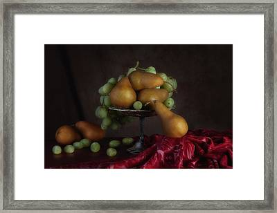 Grapes And Pears Centerpiece Framed Print by Tom Mc Nemar