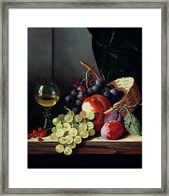 Grapes And Plums Framed Print by Edward Ladell