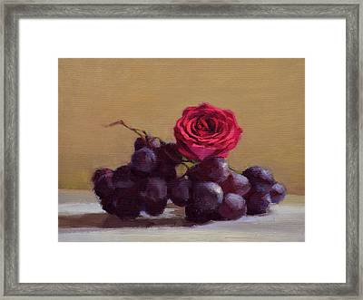 Grapes And Rose Framed Print by Ben Hubbard