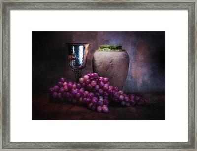 Grapes And Silver Goblet Framed Print by Tom Mc Nemar