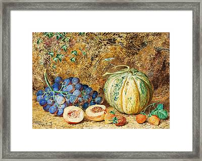 Grapes And Strawberries Framed Print by Thomas Collier