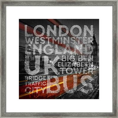 Graphic Art London Red Bus Framed Print by Melanie Viola