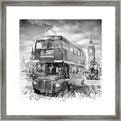 Graphic Art London Westminster Buses Framed Print by Melanie Viola