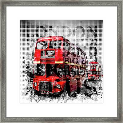 Graphic Art London Westminster Buses - Typography Framed Print by Melanie Viola
