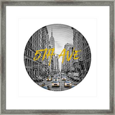 Graphic Art Nyc 5th Avenue Yellow Cabs Framed Print by Melanie Viola