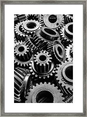 Graphic Old Gears Framed Print by Garry Gay