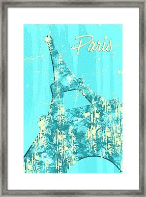 Graphic Style Paris Eiffel Tower Cyan Framed Print by Melanie Viola