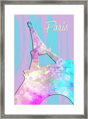 Graphic Style Paris Eiffel Tower Pink Framed Print by Melanie Viola