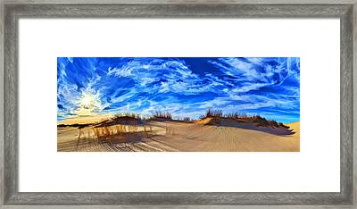 Grassy Dunes At Sandhills Sp Framed Print by Bill Caldwell -        ABeautifulSky Photography