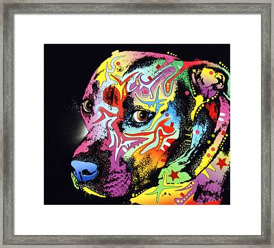 Gratitude Pit Bull Warrior Framed Print by Dean Russo