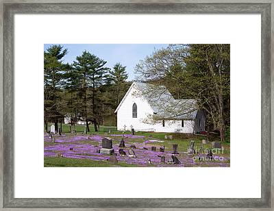 Graveyard Phlox Country Church Framed Print by John Stephens