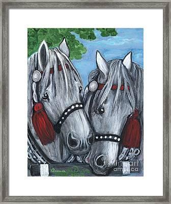 Gray Horses Framed Print by Anna Folkartanna Maciejewska-Dyba
