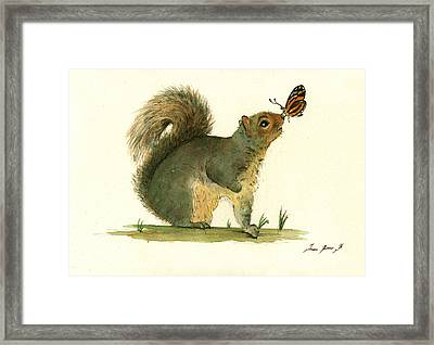 Gray Squirrel Butterfly Framed Print by Juan Bosco
