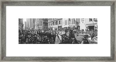 Grayscale Parade For 1998 World Series Framed Print by Panoramic Images