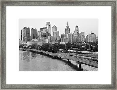 Grayscale Philly Skyline Framed Print by Frozen in Time Fine Art Photography