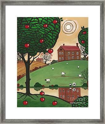 Grazing Sheep Framed Print by Margaryta Yermolayeva