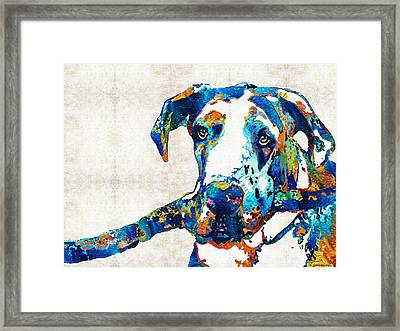 Great Dane Art - Stick With Me - By Sharon Cummings Framed Print by Sharon Cummings